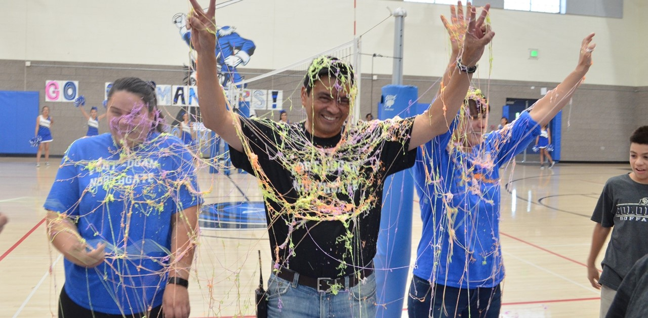 Staff Silly Stringed at Pep Rally