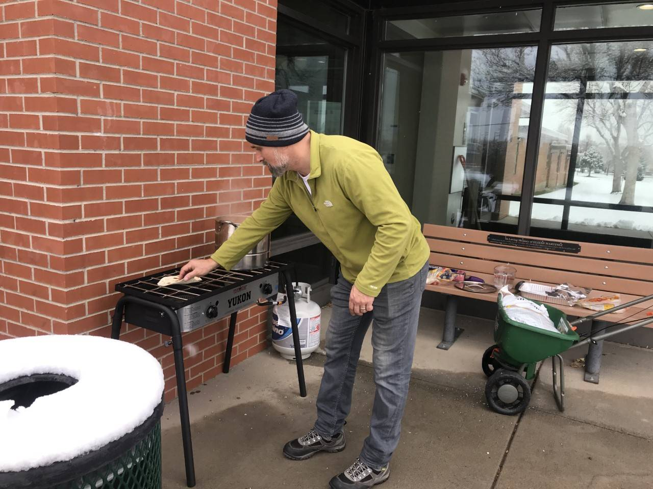 Joe warming up Pasole and tortillas