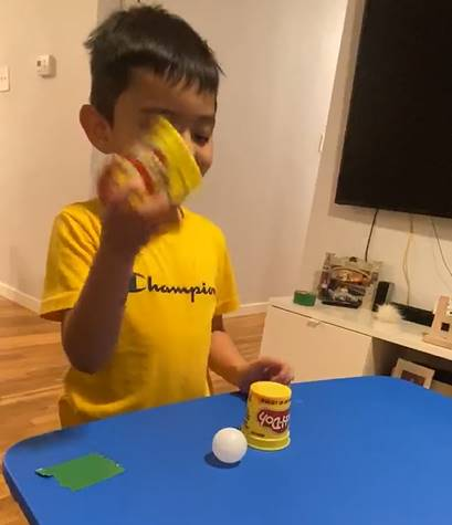 A little boy plays find the ball, by hiding and revealing his ping pong ball, hidden under two small