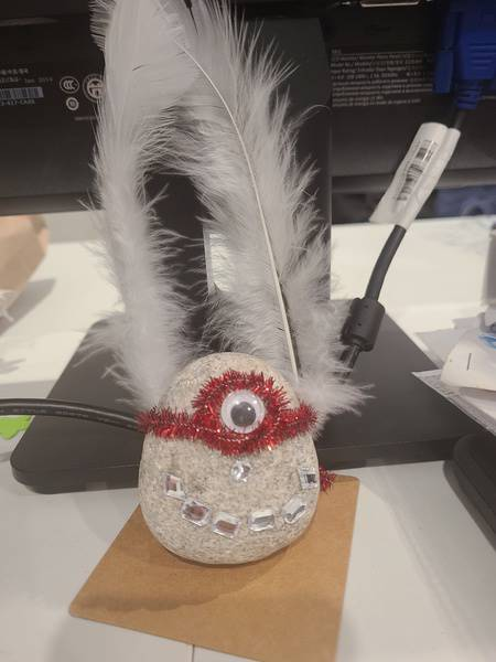 A student's pet rock with feathers, one eye and a toothy smile.a