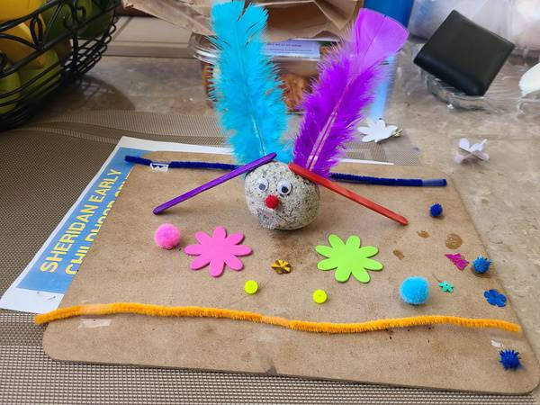 A student's pet rock with popsicle sticks, feathers, and a puffy nose.