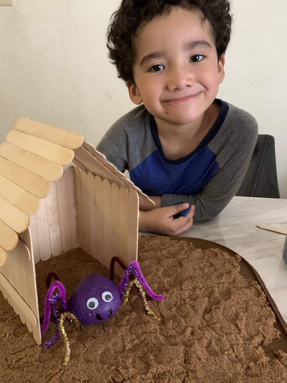 A student poses with his pet rock inside of a house.