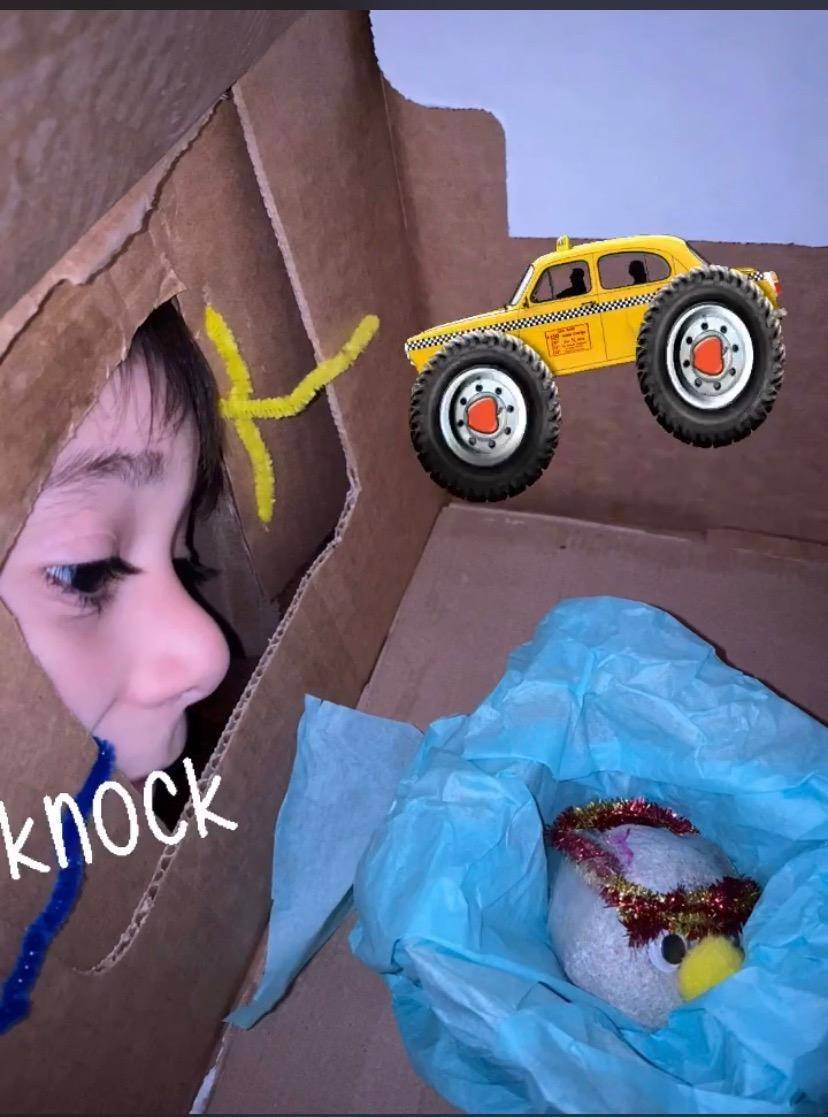 The little boy is looking inside his home at the pet rock.